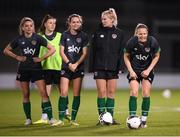 20 October 2021; Players, from left, Leanne Kiernan, Lucy Quinn, Heather Payne, Saoirse Noonan and Diane Caldwell during a Republic of Ireland training session at Tallaght Stadium in Dublin. Photo by Stephen McCarthy/Sportsfile