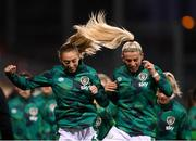 21 October 2021; Megan Connolly, left, and Savannah McCarthy of Republic of Ireland prior to the FIFA Women's World Cup 2023 qualifier group A match between Republic of Ireland and Sweden at Tallaght Stadium in Dublin. Photo by Stephen McCarthy/Sportsfile