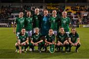 21 October 2021; The Republic of Ireland team, back row, from left, Jamie Finn, Niamh Fahey, Louise Quinn, Courtney Brosnan, Megan Connolly, Savannah McCarthy and front row, from left, Lucy Quinn, Denise O'Sullivan, Katie McCabe, Heather Payne and Áine O'Gorman before the FIFA Women's World Cup 2023 qualifier group A match between Republic of Ireland and Sweden at Tallaght Stadium in Dublin. Photo by Stephen McCarthy/Sportsfile