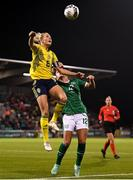 21 October 2021; Magdalena Eriksson of Sweden in action against Savannah McCarthy of Republic of Ireland during the FIFA Women's World Cup 2023 qualifier group A match between Republic of Ireland and Sweden at Tallaght Stadium in Dublin. Photo by Stephen McCarthy/Sportsfile
