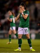 21 October 2021; Lucy Quinn of Republic of Ireland reacts during the FIFA Women's World Cup 2023 qualifier group A match between Republic of Ireland and Sweden at Tallaght Stadium in Dublin. Photo by Stephen McCarthy/Sportsfile