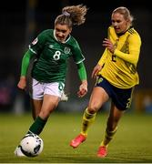 21 October 2021; Leanne Kiernan of Republic of Ireland in action against Jonna Andersson of Sweden during the FIFA Women's World Cup 2023 qualifier group A match between Republic of Ireland and Sweden at Tallaght Stadium in Dublin. Photo by Stephen McCarthy/Sportsfile