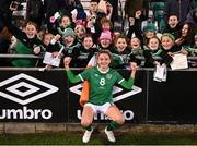 21 October 2021; Leanne Kiernan of Republic of Ireland with supporters after the FIFA Women's World Cup 2023 qualifier group A match between Republic of Ireland and Sweden at Tallaght Stadium in Dublin. Photo by Stephen McCarthy/Sportsfile