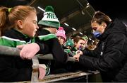21 October 2021; Lucy Quinn of Republic of Ireland with supporters following the FIFA Women's World Cup 2023 qualifier group A match between Republic of Ireland and Sweden at Tallaght Stadium in Dublin. Photo by Stephen McCarthy/Sportsfile