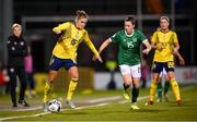 21 October 2021; Filippa Angeldahl of Sweden in action against Lucy Quinn of Republic of Ireland during the FIFA Women's World Cup 2023 qualifier group A match between Republic of Ireland and Sweden at Tallaght Stadium in Dublin. Photo by Stephen McCarthy/Sportsfile