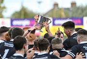 22 October 2021; Newbridge College players celebrate with the cup after their side's victory in the Bank of Ireland Leinster Schools Junior Cup Final match between Blackrock College and Newbridge College at Energia Park in Dublin. Photo by Piaras Ó Mídheach/Sportsfile