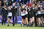 22 October 2021; Newbridge College players Todd Lawlor, left, and Paddy Taylor celebrate after their side's victory in the Bank of Ireland Leinster Schools Junior Cup Final match between Blackrock College and Newbridge College at Energia Park in Dublin. Photo by Piaras Ó Mídheach/Sportsfile