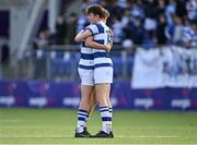 22 October 2021; Blackrock College players Charlie Molony, left, and Brian O'Flaherty after their side's defeat in the Bank of Ireland Leinster Schools Junior Cup Final match between Blackrock College and Newbridge College at Energia Park in Dublin. Photo by Piaras Ó Mídheach/Sportsfile