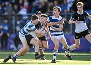 22 October 2021; Calum Murphy of Newbridge College is tackled by Conor O'Shaughnessy of Blackrock College during the Bank of Ireland Leinster Schools Junior Cup Final match between Blackrock College and Newbridge College at Energia Park in Dublin. Photo by Piaras Ó Mídheach/Sportsfile