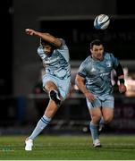 22 October 2021; Ross Byrne of Leinster kicks a penalty during the United Rugby Championship match between Glasgow Warriors and Leinster at Scotstoun Stadium in Glasgow, Scotland. Photo by Harry Murphy/Sportsfile