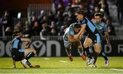 22 October 2021; Adam Byrne of Leinster is tackled by Sam Johnson of Glasgow Warriors during the United Rugby Championship match between Glasgow Warriors and Leinster at Scotstoun Stadium in Glasgow, Scotland. Photo by Harry Murphy/Sportsfile