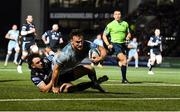 22 October 2021; Rónan Kelleher of Leinster is tackled by Rufus McClean of Glasgow Warriors on the way to scoring his side's first try during the United Rugby Championship match between Glasgow Warriors and Leinster at Scotstoun Stadium in Glasgow, Scotland. Photo by Harry Murphy/Sportsfile