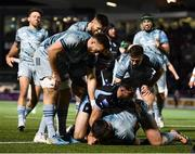 22 October 2021; Rónan Kelleher of Leinster is congratulated by team-mates Jack Conan, Ross Byrne and Luke McGrath after scoring their side's first try during the United Rugby Championship match between Glasgow Warriors and Leinster at Scotstoun Stadium in Glasgow, Scotland. Photo by Harry Murphy/Sportsfile