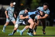 22 October 2021; Jack Conan, left, and Rónan Kelleher of Leinster tackle Jonny Matthews of Glasgow Warriors during the United Rugby Championship match between Glasgow Warriors and Leinster at Scotstoun Stadium in Glasgow, Scotland. Photo by Harry Murphy/Sportsfile