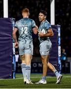 22 October 2021; Hugo Keenan of Leinster celebrates with team-mate Ciarán Frawley, 12, after scoring their side's second try during the United Rugby Championship match between Glasgow Warriors and Leinster at Scotstoun Stadium in Glasgow, Scotland. Photo by Harry Murphy/Sportsfile