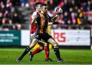 22 October 2021; Michael Duffy of Dundalk in action against Lee Desmond of St Patrick's Athletic during the Extra.ie FAI Cup Semi-Final match between St Patrick's Athletic and Dundalk at Richmond Park in Dublin. Photo by Ben McShane/Sportsfile