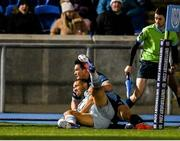 22 October 2021; Adam Byrne of Leinster scores his side's third try despite the efforts of Sam Johnson of Glasgow Warriors during the United Rugby Championship match between Glasgow Warriors and Leinster at Scotstoun Stadium in Glasgow, Scotland. Photo by Harry Murphy/Sportsfile