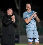 22 October 2021; Dan Leavy, left, and Devin Toner of Leinster acknowledge the Leinster supporters after the United Rugby Championship match between Glasgow Warriors and Leinster at Scotstoun Stadium in Glasgow, Scotland. Photo by Harry Murphy/Sportsfile