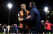 22 October 2021; Michael Duffy of Dundalk is greeted by St Patrick's Athletic manager Alan Mathews after the Extra.ie FAI Cup Semi-Final match between St Patrick's Athletic and Dundalk at Richmond Park in Dublin. Photo by Ben McShane/Sportsfile