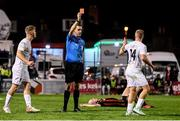 22 October 2021; Niall O'Keeffe of Waterford is shown a red card by referee Rob Harvey during the Extra.ie FAI Cup Semi-Final match between Bohemians and Waterford at Dalymount Park in Dublin. Photo by Stephen McCarthy/Sportsfile