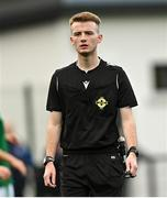 22 October 2021; Referee Jonny Reid during the Victory Shield match between Northern Ireland and Republic of Ireland at Blanchflower Park in Belfast. Photo by Ramsey Cardy/Sportsfile