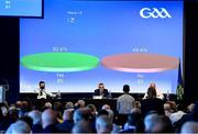 23 October 2021; Uachtarán Chumann Lúthchleas Gael Larry McCarthy announces the result of Motion 19, regarding the restructure of the GAA football championship, which did not get the required 60% to pass, and so failed, during the GAA Special Congress at Croke Park in Dublin. Photo by Piaras Ó Mídheach/Sportsfile