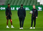 23 October 2021; Ulster players, from left, Robert Baloucoune, David McCann and Nathan Doak prior to the United Rugby Championship match between Connacht and Ulster at Aviva Stadium in Dublin. Photo by David Fitzgerald/Sportsfile