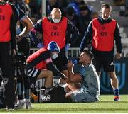 22 October 2021; Rónan Kelleher of Leinster receives treatment during the United Rugby Championship match between Glasgow Warriors and Leinster at Scotstoun Stadium in Glasgow, Scotland. Photo by Harry Murphy/Sportsfile