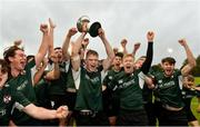 23 October 2021; The victorious Queens University Belfast team celebrate with the Conway cup after the Maxol Irish Universities Rugby Union Sponsorship Conroy Cup Final at Queens University in Belfast, Antrim. Photo by Oliver McVeigh/Sportsfile