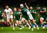 23 October 2021; Mack Hansen of Connacht on his way to scoring his side's second try during the United Rugby Championship match between Connacht and Ulster at Aviva Stadium in Dublin. Photo by David Fitzgerald/Sportsfile