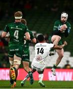 23 October 2021; Mack Hansen of Connacht in action against Robert Baloucoune of Ulster during the United Rugby Championship match between Connacht and Ulster at Aviva Stadium in Dublin. Photo by David Fitzgerald/Sportsfile