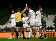 23 October 2021; Alan O'Connor of Ulster is shown a yellow card by referee Andy Brace during the United Rugby Championship match between Connacht and Ulster at Aviva Stadium in Dublin. Photo by David Fitzgerald/Sportsfile