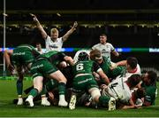 23 October 2021; Brad Roberts of Ulster, hidden, scores his side's second try during the United Rugby Championship match between Connacht and Ulster at Aviva Stadium in Dublin. Photo by David Fitzgerald/Sportsfile