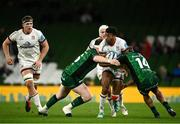 23 October 2021; Robert Baloucoune of Ulster is tackled by Eoghan Masterson, left, and John Porch of Connacht during the United Rugby Championship match between Connacht and Ulster at Aviva Stadium in Dublin. Photo by David Fitzgerald/Sportsfile