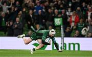 23 October 2021; Mack Hansen of Connacht scores his side's fifth try during the United Rugby Championship match between Connacht and Ulster at Aviva Stadium in Dublin. Photo by Brendan Moran/Sportsfile