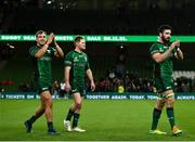 23 October 2021; Connacht players, from left, John Porch, Kieran Marmion and Paul Boyle after the United Rugby Championship match between Connacht and Ulster at Aviva Stadium in Dublin. Photo by David Fitzgerald/Sportsfile