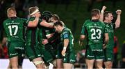 23 October 2021; Connacht players celebrate their side's fifth try, scored by Mack Hansen during the United Rugby Championship match between Connacht and Ulster at Aviva Stadium in Dublin. Photo by Brendan Moran/Sportsfile
