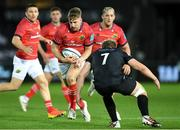 23 October 2021; Liam Coombes of Munster is tackled by Jac Morgan of Ospreys during the United Rugby Championship match between Ospreys and Munster at Liberty Stadium in Swansea, Wales. Photo by Ben Evans/Sportsfile