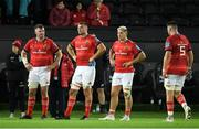 23 October 2021; Dejected Munster players after the United Rugby Championship match between Ospreys and Munster at Liberty Stadium in Swansea, Wales. Photo by Ben Evans/Sportsfile