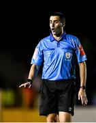 23 October 2021; Referee Adriano Reale during the SSE Airtricity League Premier Division match between Longford Town and Shamrock Rovers at Bishopsgate in Longford. Photo by Seb Daly/Sportsfile