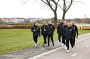 24 October 2021; Republic of Ireland players, from left, Lucy Quinn, Courtney Brosnan, Diane Caldwell, Louise Quinn, Savannah McCarthy Denise O'Sullivan and Grace Moloney during a walk in Helsinki ahead of the team's FIFA Women's World Cup 2023 Qualifier against Finalnd on Tuesday. Photo by Stephen McCarthy/Sportsfile