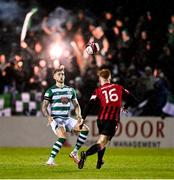23 October 2021; Lee Grace of Shamrock Rovers in action against Aodh Dervin of Longford Town during the SSE Airtricity League Premier Division match between Longford Town and Shamrock Rovers at Bishopsgate in Longford. Photo by Seb Daly/Sportsfile