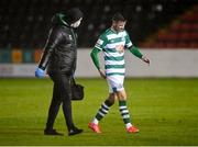 23 October 2021; Ronan Finn of Shamrock Rovers leaves the pitch with physiotherapist Tony McCarthy during the SSE Airtricity League Premier Division match between Longford Town and Shamrock Rovers at Bishopsgate in Longford. Photo by Seb Daly/Sportsfile