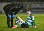23 October 2021; Ronan Finn of Shamrock Rovers is tended to by physiotherapist Tony McCarthy during the SSE Airtricity League Premier Division match between Longford Town and Shamrock Rovers at Bishopsgate in Longford. Photo by Seb Daly/Sportsfile