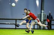 23 October 2021; Adam Naughton of Knockmore in action against Hugh Geraghty of Ballintubber during the Mayo County Senior Club Football Championship Quarter-Final match between Ballintubber and Knockmore at Connacht GAA Centre in Bekan, Mayo. Photo by Matt Browne/Sportsfile