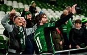 23 October 2021; Mack Hansen of Connacht takes a selfie with supporters after the United Rugby Championship match between Connacht and Ulster at Aviva Stadium in Dublin. Photo by Brendan Moran/Sportsfile