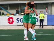 24 October 2021; Anna O'Flanagan of Ireland is congratulated by her team-mate Zara Malseed after scoring her side's second goal during the FIH Women's World Cup European Qualifier Final match between Ireland and Wales at Pisa in Italy. Photo by Roberto Bregani/Sportsfile