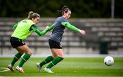 24 October 2021; Roma McLaughlin and Jamie Finn, right, during a Republic of Ireland Women training session at Leppavaara Stadium in Helsinki, Finland. Photo by Stephen McCarthy/Sportsfile