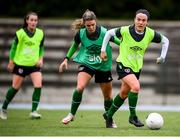 24 October 2021; Ciara Grant, right, and Jamie Finn during a Republic of Ireland Women training session at Leppavaara Stadium in Helsinki, Finland. Photo by Stephen McCarthy/Sportsfile