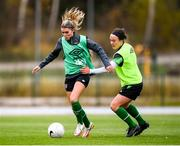 24 October 2021; Leanne Kiernan and Ciara Grant, right, during a Republic of Ireland Women training session at Leppavaara Stadium in Helsinki, Finland. Photo by Stephen McCarthy/Sportsfile
